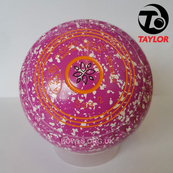 Taylor Ace Progrip Coloured Bowls Pink White Geometrical Stamp